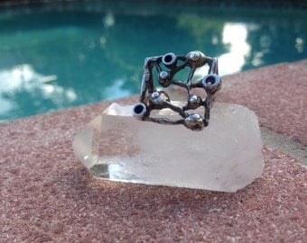 Handmade Sterling Silver Ring. Unique architecture ring with geometric designs.