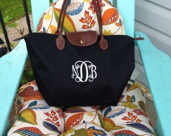 Medium Sized Monogram Champ Tote Bag - Monogrammed Nylon Handbag- Makes a great bridesmaid gift, bridal party gift