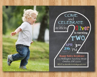 Chalkboard Second Birthday Invitation with Picture. 2nd Birthday Invite with Photo. Baby Boy or Girl Birthday Party. Printable Digital DIY
