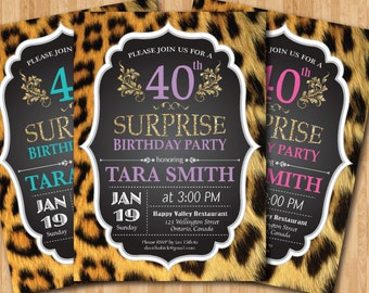 40th birthday invitation for Women. Leopard Print. Animal Print. Surprise Birthday Party Invite. 50th 60th any age. Printable digital DIY.