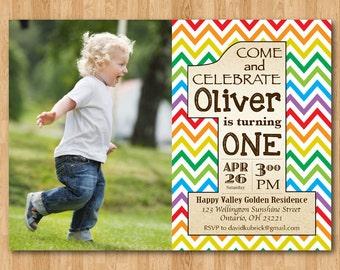 First Birthday Invitation Rainbow. 1st Birthday Invite with custom photo. Boy or Girl Party. Colorful and Vintage. Printable Digital DIY.