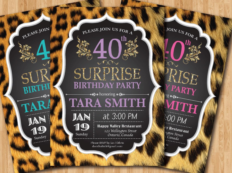 40th birthday invitation for Women. Leopard Print. Animal