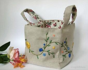 Storage Basket  , Fabric Storage Bin , Organizer , Embroidered Linen Basket ,  Floral Storage Organizer