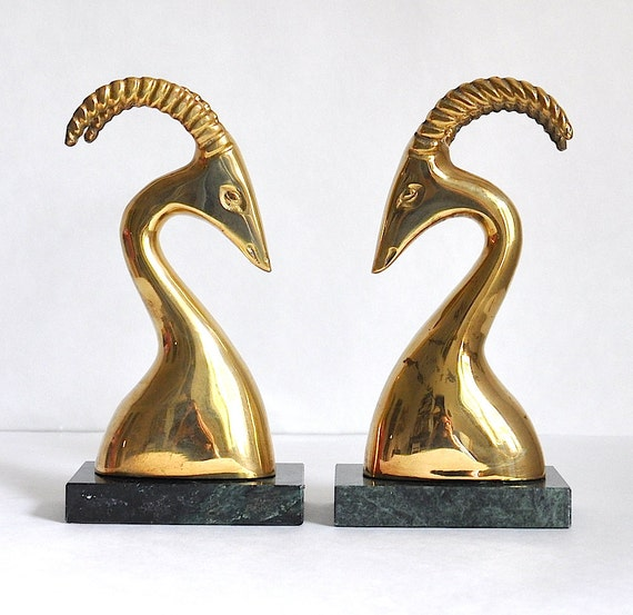 Vintage Brass Antelope/Ram/Gazelle Bookends, Brass Animal Bookends