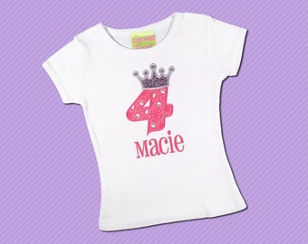 Princess Birthday Shirt with Crown Number and Name