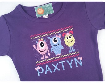 Girl's Monster Shirt Faux Smocked with Embroidered Name