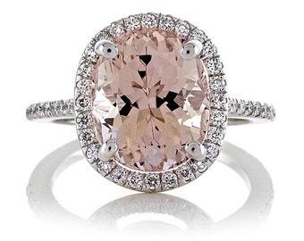 Morganite Diamond Halo Engagement Ring 18kt White Gold Engagement Ring Wedding Ring Rare 4.30ct Oval Pink Morganite Pristine Custom Rings