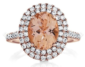 Rose Gold Ring Diamond & Morganite Double Halo Engagement Ring 18kt Rose Gold Wedding Anniversary Oval Morganite Ring Pristine Custom Rings