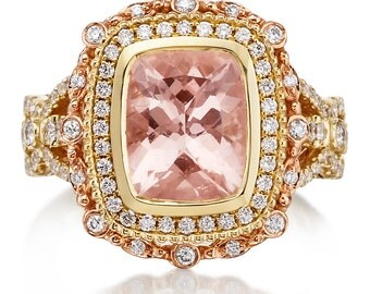 Morganite Engagement Ring 18kt Rose & Yellow Gold Ring 10x8 Long Cushion Cut Halo Diamond Anniversary Wedding Ring Pristine Custom Rings