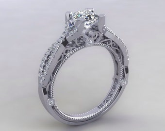 Princess Cut Engagement Ring Genuine Diamonds Princess Cut White Sapphire Ring Unique Wedding Ring pristine custom rings