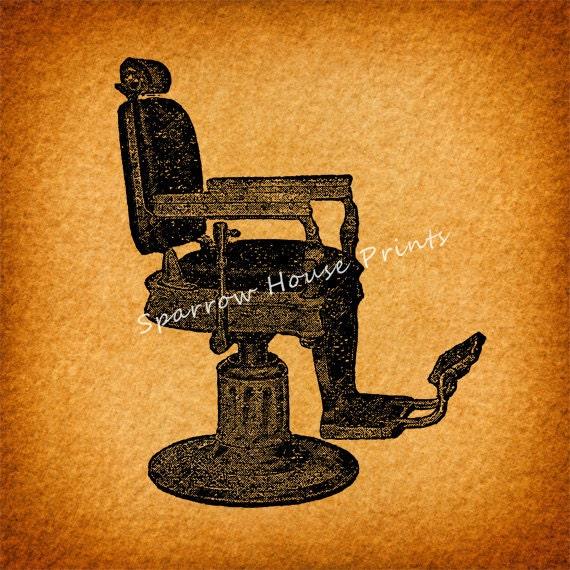 Vintage Barbers Chair Wall Art Hair Salon by SparrowHousePrints