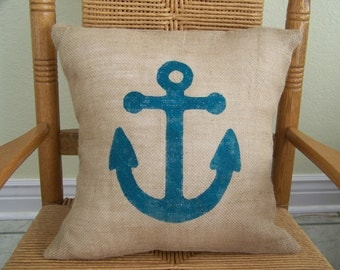 Anchor pillow cover, Burlap pillow, Beach pillow, Nautical Pillow Cover, stenciled pillow, FREE SHIPPING!