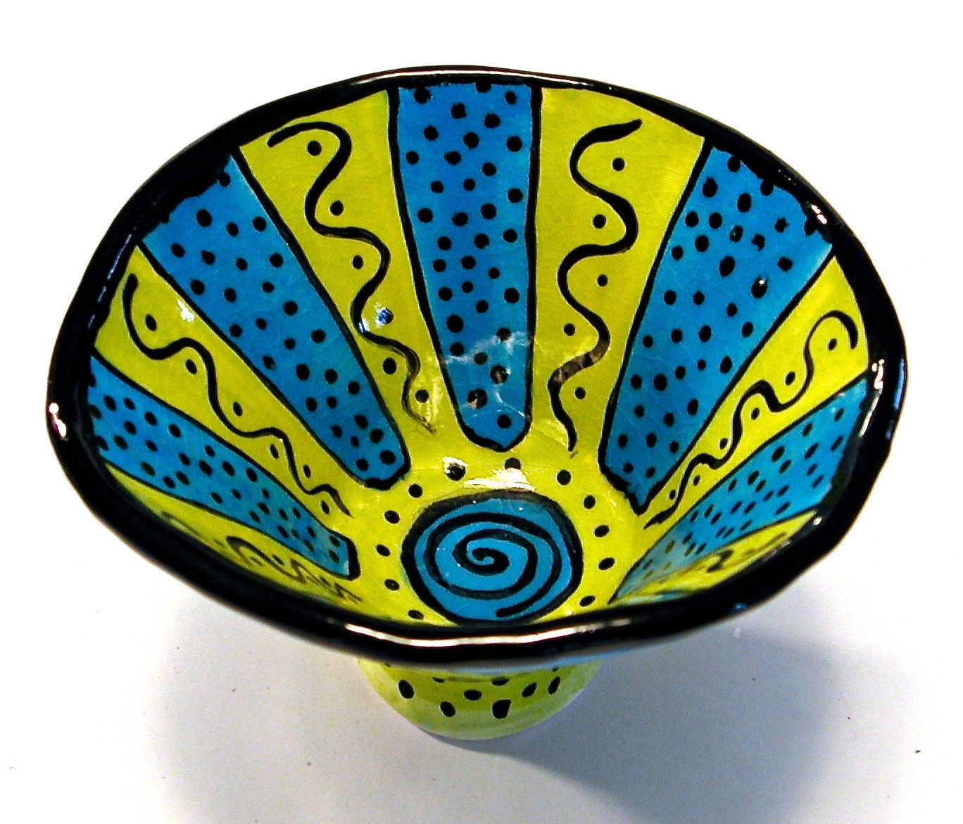 Hand Built Ceramic Bowl With Fun Amp Funky Design By