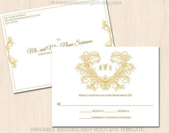 printable wedding rsvp postcard template by yourweddingtemplates. Black Bedroom Furniture Sets. Home Design Ideas