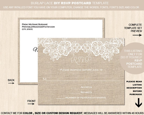 items similar to burlap flower lace rsvp postcard template editable template. Black Bedroom Furniture Sets. Home Design Ideas
