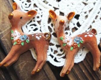 2pcs 30x45x15mm Little Cute Hand-painted Resin Deer RA015a