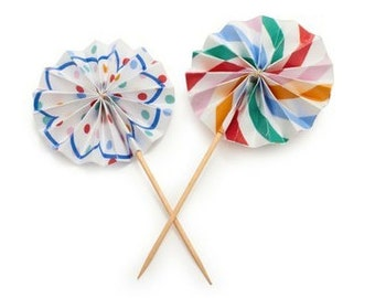 Toot Sweet Mini Pinwheel Cupcake Toppers Meri Meri Cake Spotty Picks Party Supplies, Baking Supplies Birthday Children Carnival