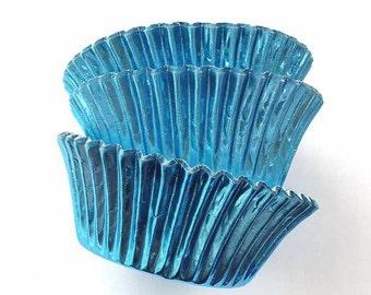 Dusty Blue Foil Cupcake Liners (45), Metallic Blue Cupcake Liners, Boy Baby Shower Cupcakes, Light Blue - Ice Blue - Azure Sky Blue
