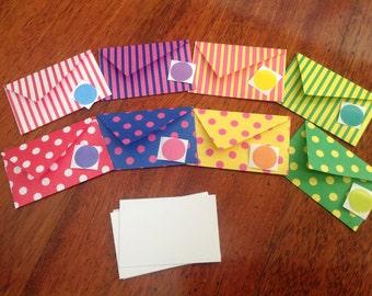 Mini cards, tiny cards and envelope set, Mini stationery, spots and stripes, mini stationary,