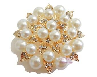 Bridal Brooch, Gold Plated Cream Pearl Clear Rhinestone Crystal leaf Flower , Wedding Brooch, Bridal Brooches  BR0010