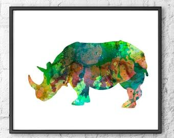 Rhino print, art print, wild life art, wild animal print, green, broun, wall decor, wall print, kids decor - 136