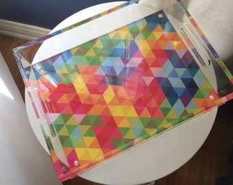 Designer Lucite Tray, mulit-color triangle prism
