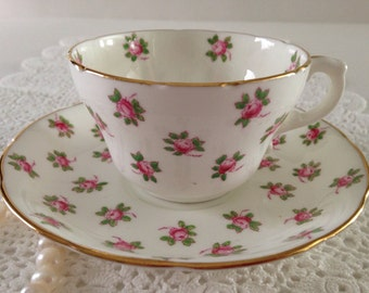 Hand Painted  Hammersley Rosebud Tea Cup & Saucer