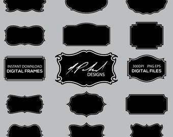 Black Frame Digital Clipart Set - Frame Clip Art - Instant Download