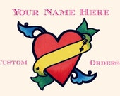 Custom name. Tattoos Body tattoo Personalized custom hand drawn heart tattoo. Temporary tattoo. Geekery gift tattoo Set of 2