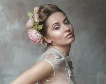 Wedding Hair Accessories - Flower Headpiece, Wedding Hair Flowers, Handmade Fascinator, Birdcage Veil, Vintage Headpiece