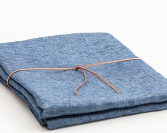 "FREE Shipping USA & Canada - 100% Denim Linen Tablecloth 55"" x 90"""