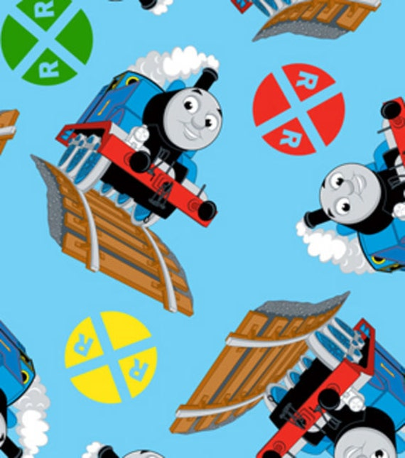 Thomas the train fleece fabric by the yard by for Train fabric by the yard