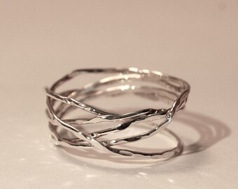 Bird nest ring - random wrapped ring - wire wrapped ring - 5 day ring - free style ring - silver band - gold band - friendship wrapped ring