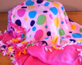 36 x 54 inch Polka Dotty fleece blanket