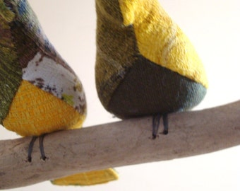 Bird mobiles (small) hand made from vintage and recycled fabric. Original shape