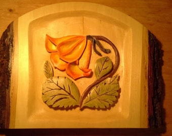 Carving.  Wood Carving.  Hand Carved Flower Relief Carving on Basswood, Watercolor