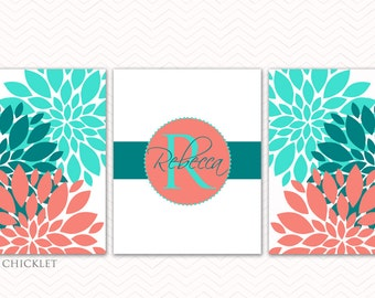 Coral Teal Aqua Wall Art Set Personalized Kids Baby Name Initial Flower Bursts Coral Nursery Room Decor Bedroom Family Name 8X10 191abc