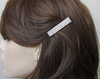 Simple Square 4 lines Crystal Barrette Hair Clip Accessory Silver Tone Clear