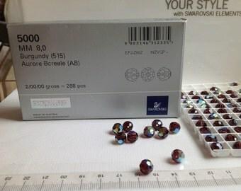 12 - 8mm Genuine Swarovski Crystal Art 5000 Beads - Burgandy AB