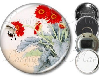 Japanese Floral with Butterfly Pocket Mirror, Magnet, Bottle Opener Key Ring, Pin Back Button