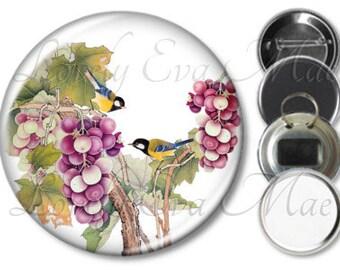 Japanese Birds & Grape Vine Pocket Mirror, Magnet, Bottle Opener Key Ring, Pin Back Button