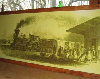 Railroad picture framed with reclaimed barn oak