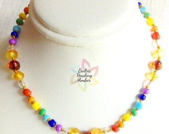 Adult Custom Baltic Healing Amber necklace designed with 100% Baltic amber beads and glass beads in rainbow colors.