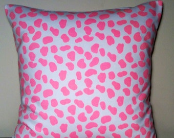 """Handmade Pillow Cover - Bright Pink Cow print 100% Cotton - READY TO SHIP - 16"""" x 16"""""""