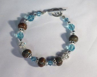 Turquoise Bracelet With Turquoise Swarovski Crystal And Silver
