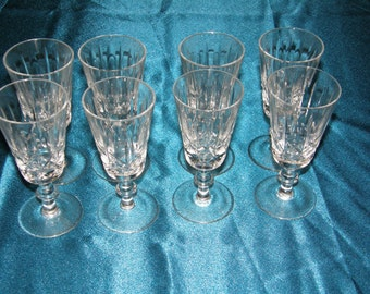 Cross and Olive Liquor Cordials Set of 8 Ball Stems