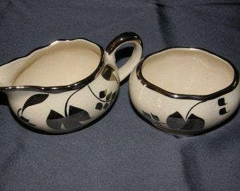 Vintage Sandland Ware Platinum Creamer and Sugar Bowl-Lancaster