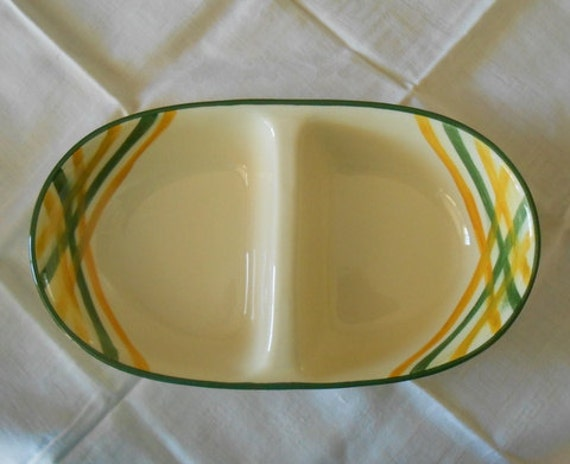 Vernon Kilns Gingham Pattern Double Serving Bowl