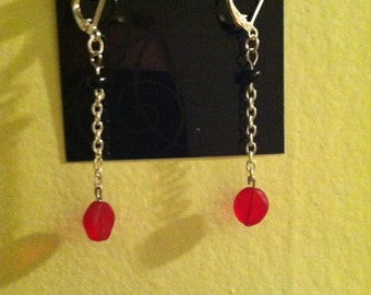 Black and Red Glass Chain Earrings