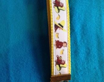 Curious George wristlet key fob keychain